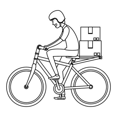 worker of delivery service in bicycle with boxes vector illustration design