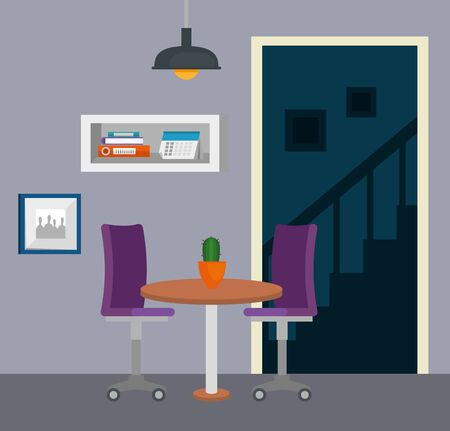 plant in the table with chair and books data in the business office, vector illustration
