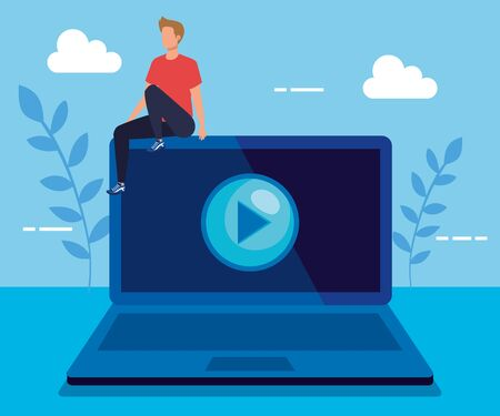 man with laptop technology and play video to business strategy, vector illustration