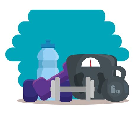 water bottle with dumbbells and weight machine to fitness exercise. vecctor illustration Ilustrace