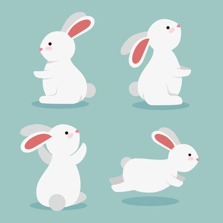 set of cute rabbits wild animals over blue background, vector illustration  イラスト・ベクター素材