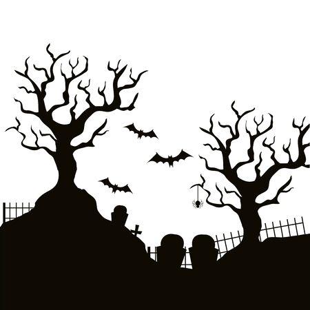 albero secco con il cimitero isolato icona illustrazione vettoriale design