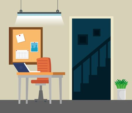 laptop technology with noteboard and desk with chair in the business office, vector illustration