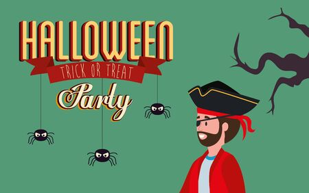 poster of party with man disguised vampire vector illustration design Stock Illustratie