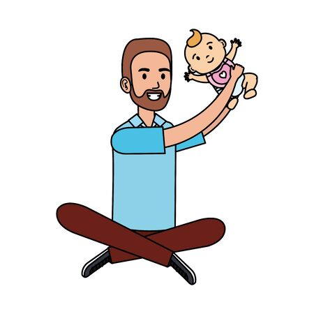 father lifting little baby characters vector illustration design