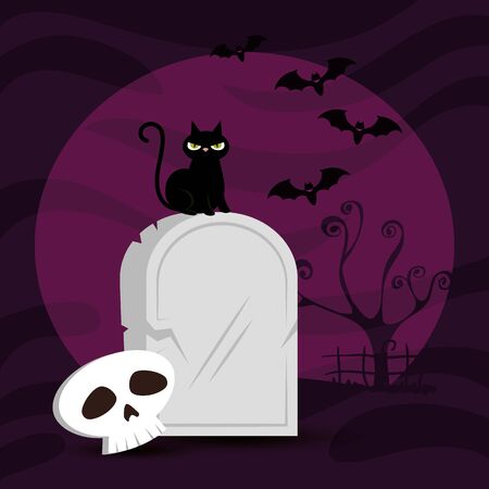 tomb with cat and skull in scene halloween vector illustration design Stock Illustratie