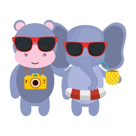 cute hippo and elephant with camera and pineapple cocktail vector illustration