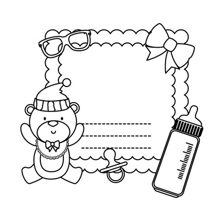 baby shower card with bear teddy and bottle milk vector illustration design