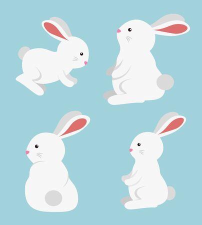 set of rabbit cute wild animal over blue background, vector illustration