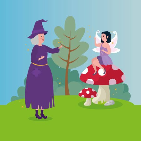 witch with fairy in scene fairytale vector illustration design