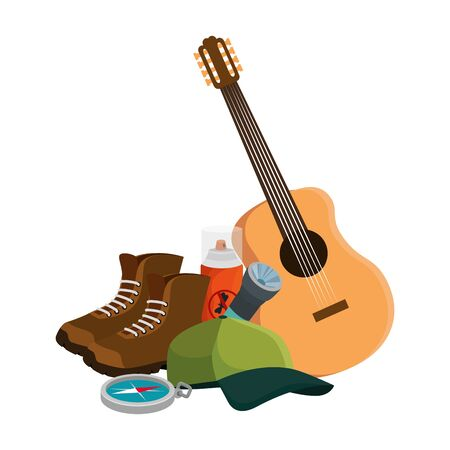 guitar instrument with camping equipment vector illustration design