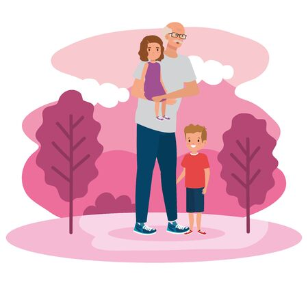 grandfather with his boy and girl children in the landscape, vector illustration  イラスト・ベクター素材