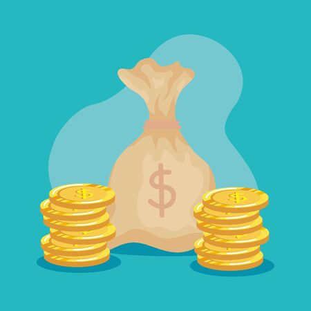 bag money with coins cash currency over blue backgroud, vector illustration Çizim