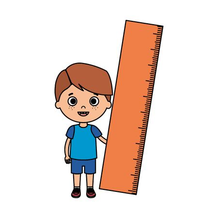 little boy student with rule character vector illustration design