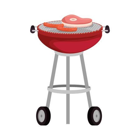 bbq grill with meat and sausages vector illustration design Stock Vector - 133836719