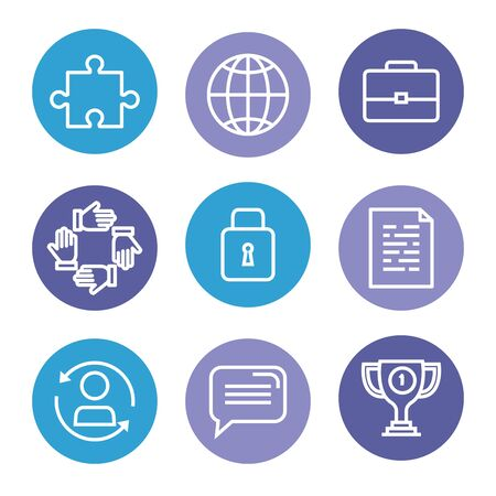 set of business strategy icons to teamwork information over white background, vector illustration