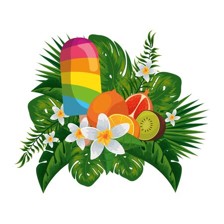 colors ice cream in stick with tropical fruits and leafs palms vector illustration Ilustração