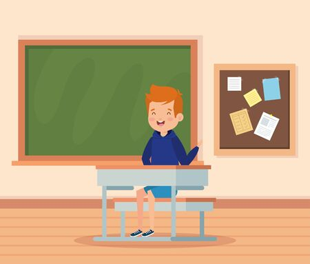boy child in the classroom with desk and blackboard to school education vector illustration