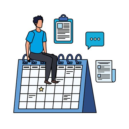 young man with calendar character vector illustration design