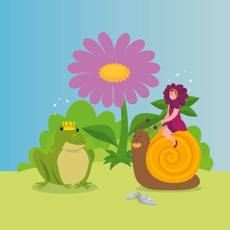 woman disguised flower with animals in scene fairytale vector illustration design