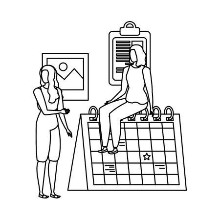 young women with calendar characters vector illustration design Ilustração