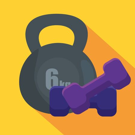 weight and dumbbells to sport activity exercise over yellow background, vector illustration Ilustração