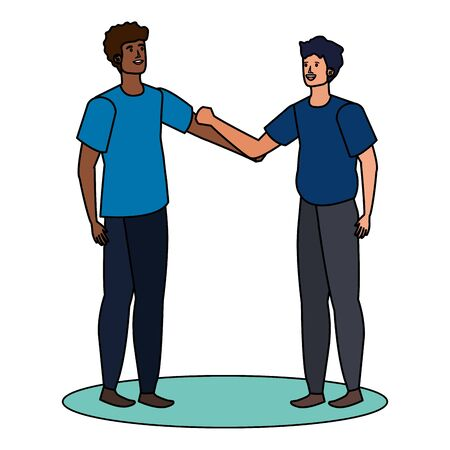 interracial young men friends characters vector illustration design 向量圖像