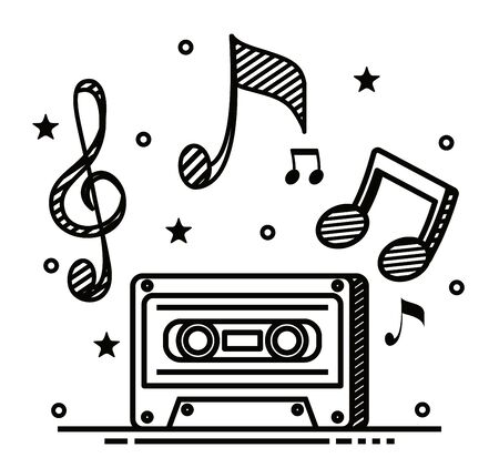 cassette melody with music notes rhythm and star to music style vector illustration Ilustrace