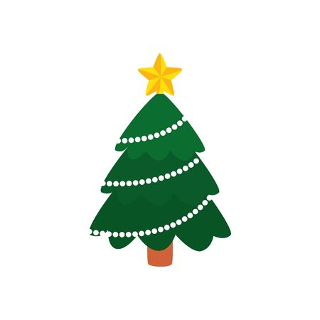 pine tree christmas isolated icon vector illustration design Banque d'images - 133837888