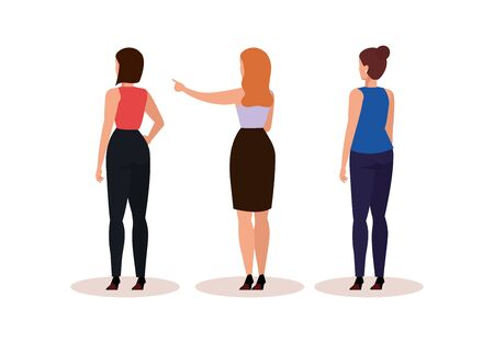group business women of back avatar character vector illustration design