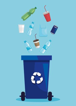 recycle basket with plastic bottles and cups with can vector illustration