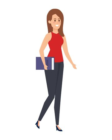 young teacher female with books character vector illustration design
