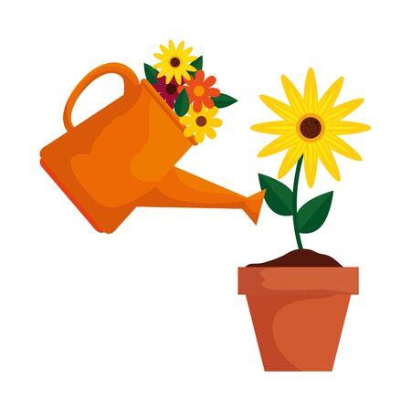 sprinkler pot with flowers and sunflower vector illustration design