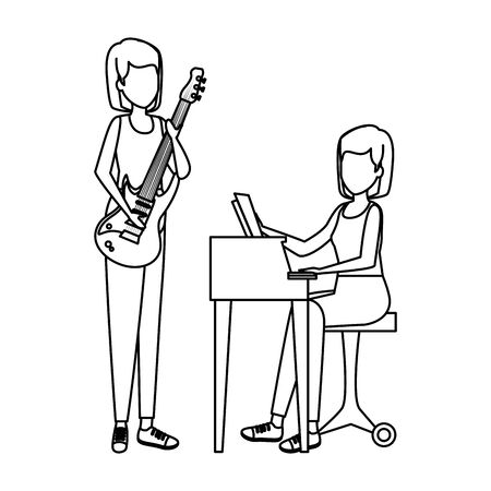 women playing grand piano and guitar electric vector illustration design Ilustração