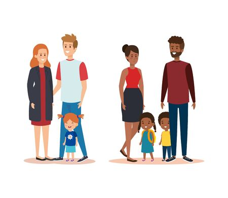 set happy women and men with their daughters and son vector illustration