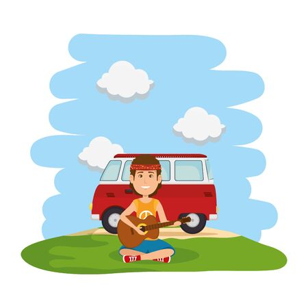 hippy man playing guitar with van in the landscape vector illustration design