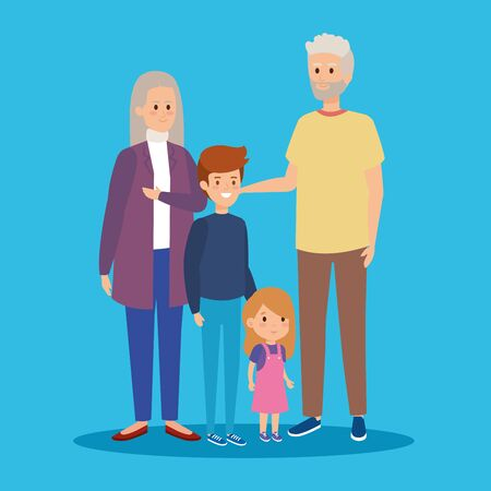 grandparents together with happy grandson and granddaughter vector illustration Illustration