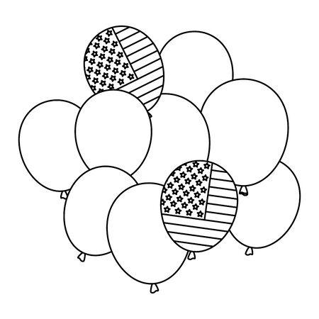 balloons helium with usa flag vector illustration design 일러스트