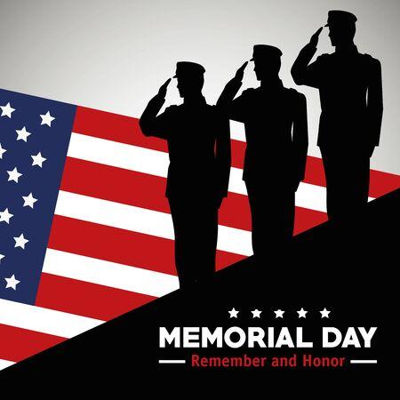 soldats avec drapeau américain pour célébrer l'illustration vectorielle du jour du souvenir