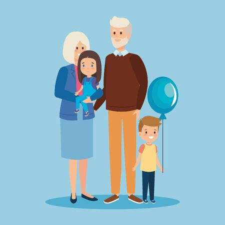 happy grandparents together with girl and son vector illustration