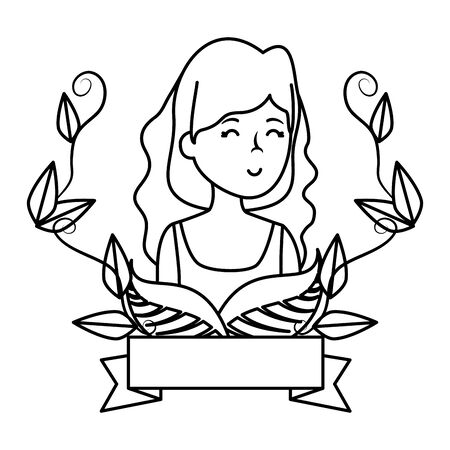 young woman with ecology frame vector illustration design Banque d'images - 133838395