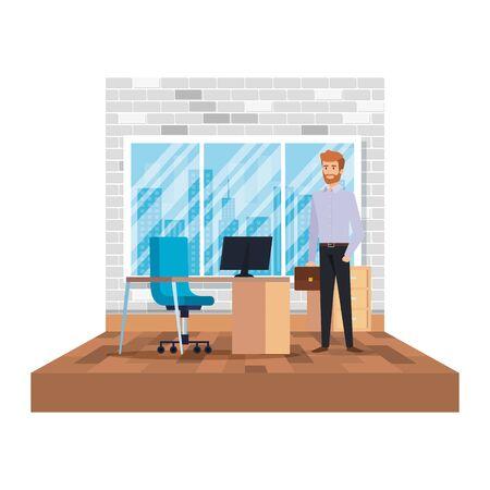 businessman with portfolio in the office scene vector illustration design