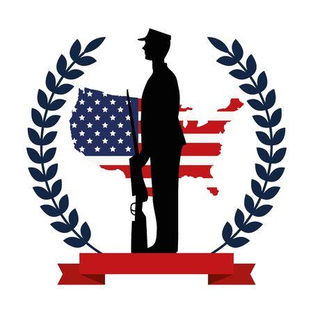 military with weapon silhouette with flag emblem vector illustration design Ilustração