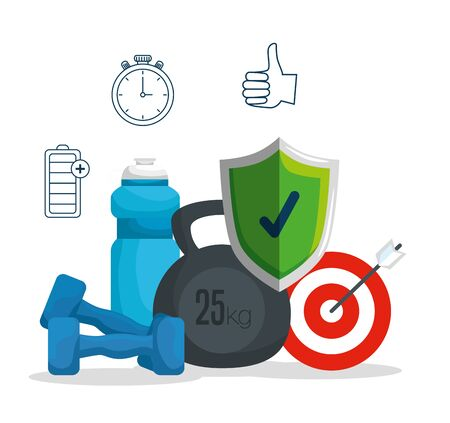 dumbbells with water bottle and shield security with target vector illustration Иллюстрация