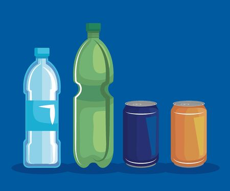 set of plastic bottle and cans recycle vector illustration Illustration