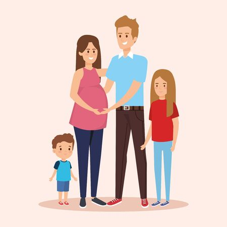 woman pregnant and man with daughter and son vector illustration