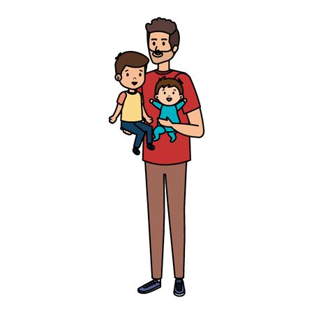 young father with son and baby characters vector illustration design