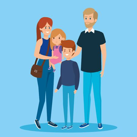 woman carrying her daughter and man with son vector illustration Illustration