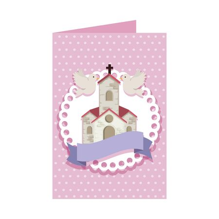 postcard with church facade building vector illustration design Çizim