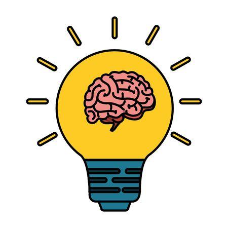 brain human with bulb vector illustration design Ilustração